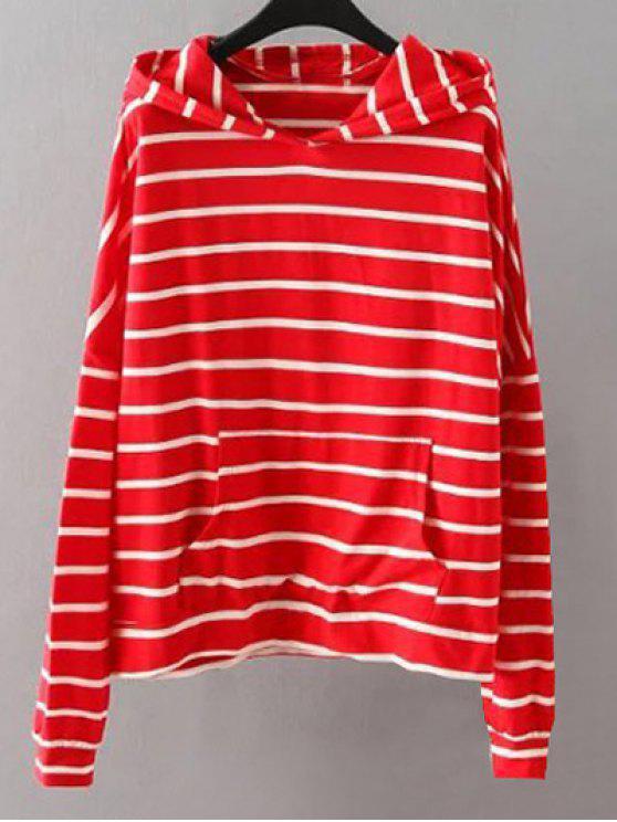 Bolsillos de rayas con capucha - Rojo 2XL