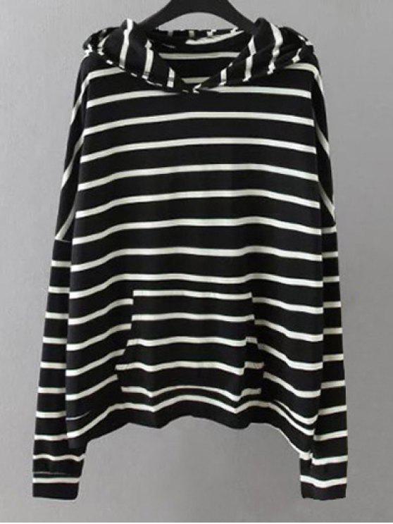 Bolsillos de rayas con capucha - Negro 3XL