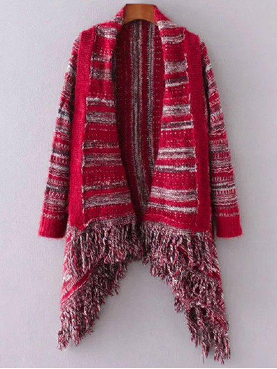 chic Striped Cape Fringed Cardigan - RED ONE SIZE