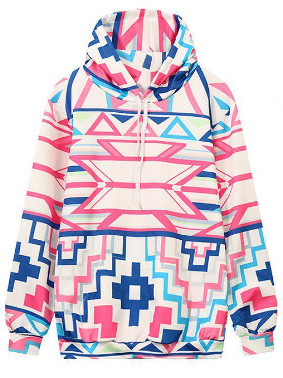 womens Hooded Geometric Pattern Sweatshirt - MULTICOLOR L