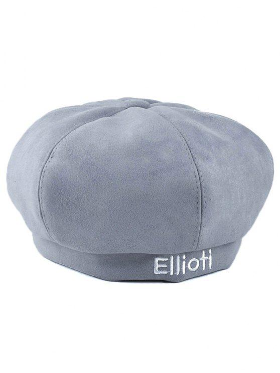 buy Letter Embroidery Faux Suede French Beret - LIGHT GRAY