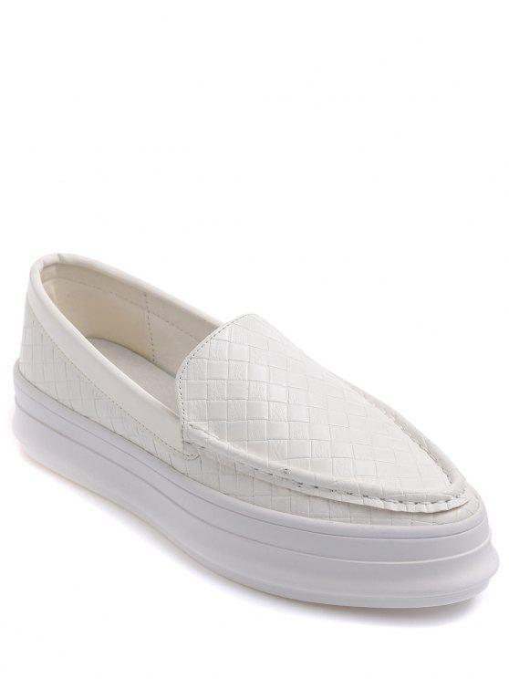 Plaid Pattern PU cuir gaufrage Chaussures plates - Blanc 38