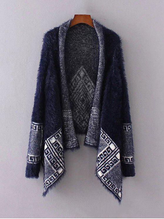 Fuzzy stampato Cape Cardigan - Blu Violaceo Una Taglia