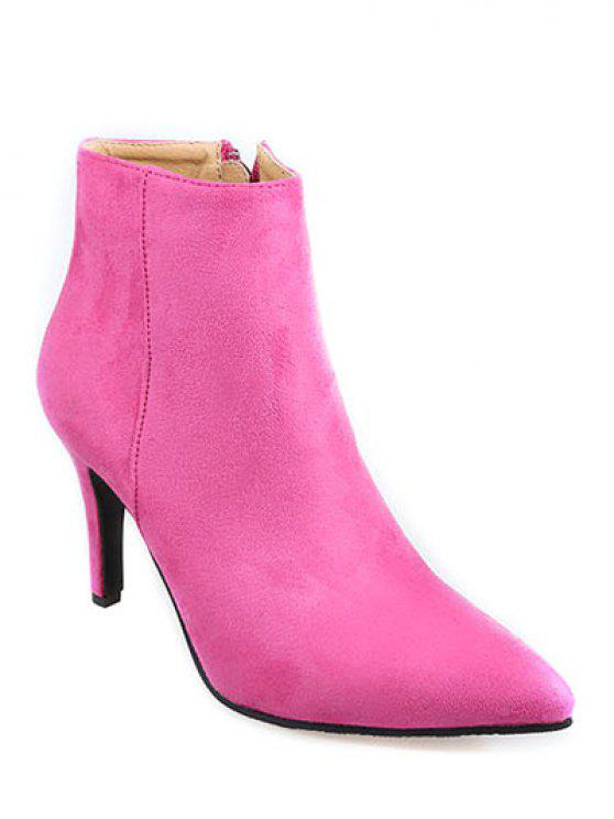 latest Flock Pointed Toe Stiletto Heel Ankle Boots - ROSE MADDER 38