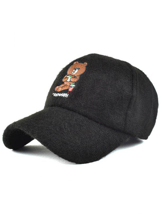 outfit Cartoon Bear Embroidery Knit Baseball Hat - BLACK