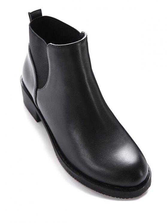online Elastic Round Toe PU Leather Ankle Boots - BLACK 37