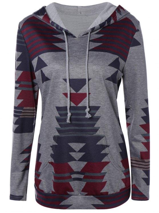 Geometric Print PulloverHoodie - Grau M