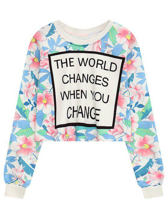 women's Floral Letter Crew Neck Cropped Sweatshirt - FLORAL ONE SIZE