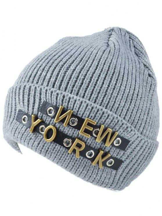 latest Letter Rivet Flanging Knit Hat - LIGHT GRAY