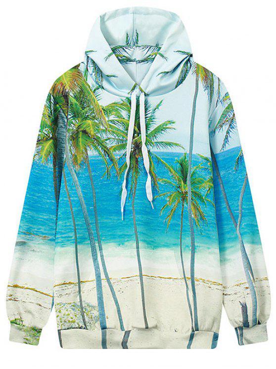 lady Coconut Palm Print Hoodie - OCEAN BLUE M