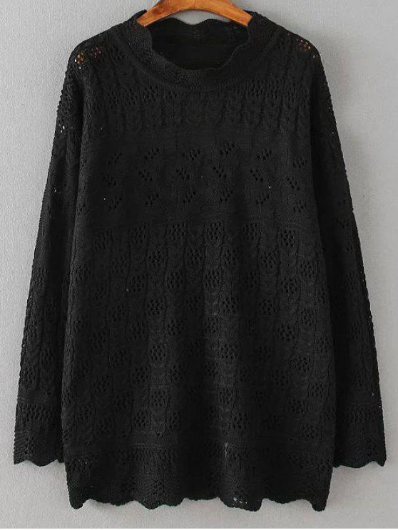 Casual Cut Out Pullover - Schwarz 4XL