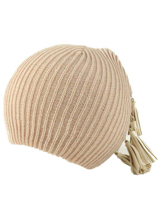 new Tassels Pendant Side Knit Hat - BEIGE