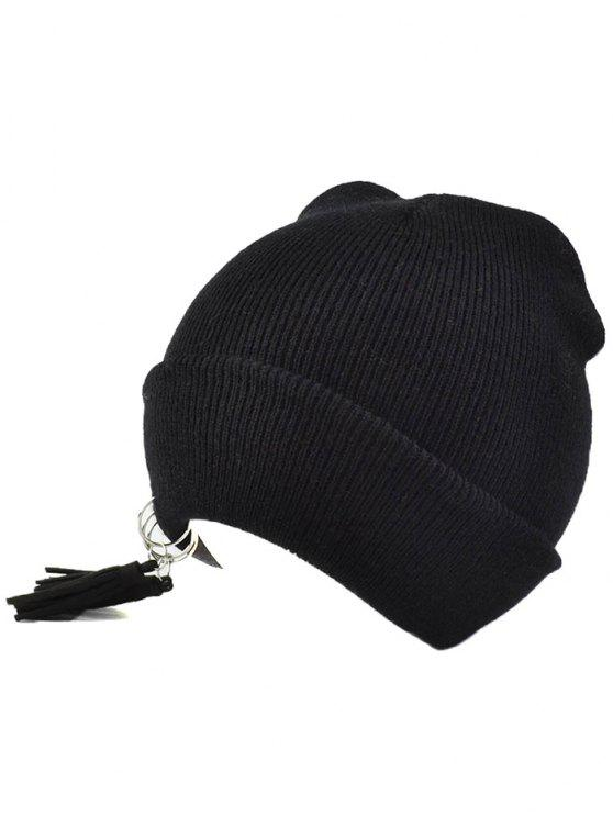 outfits Tassels Pendant Knit Hat - BLACK