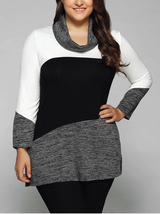 Heathered cuello de la capucha del tamaño extra grande de la blusa - Blanco y Negro XL