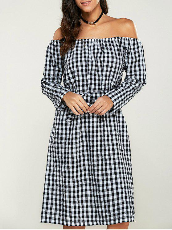 e5598b1967bd 27% OFF] 2019 Long Sleeve Off Shoulder Gingham Dress In WHITE AND ...