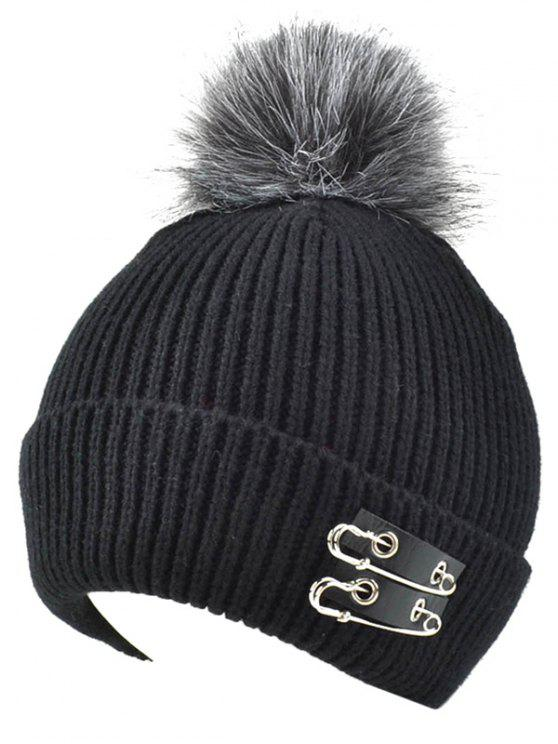 Knit Safe Pin Fuzzy Boule Hat - Noir