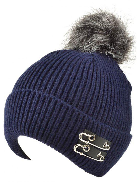 latest Safe Pin Fuzzy Ball Knit Hat - CADETBLUE