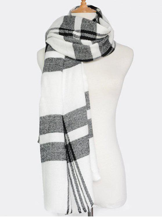 lady Plaid Pattern Fringed Knit Scarf - WHITE