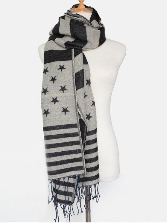 Patrón de la bandera americana de la borla de la bufanda del mantón - Negro