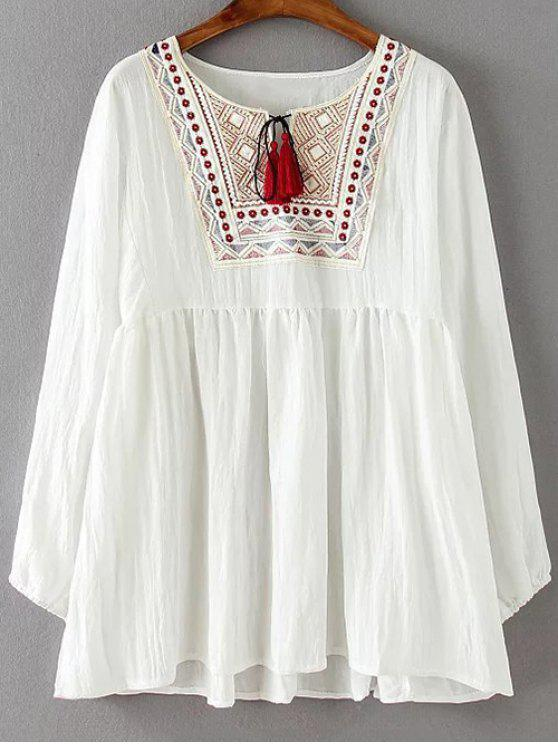 affordable Ruched Loose Embroidered Blouse - WHITE 3XL