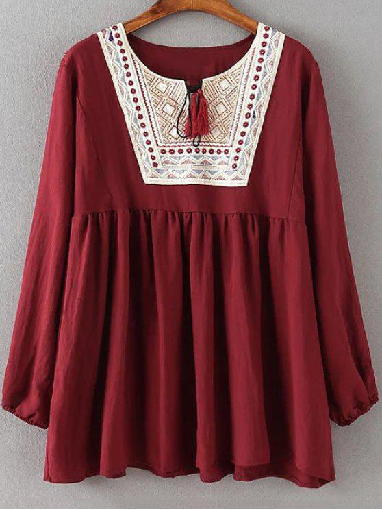 women Ruched Loose Embroidered Blouse - WINE RED 5XL