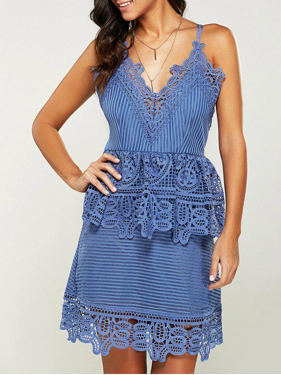 women Strappy Peplum Lace Overlay Dress - BLUE LIGHT M