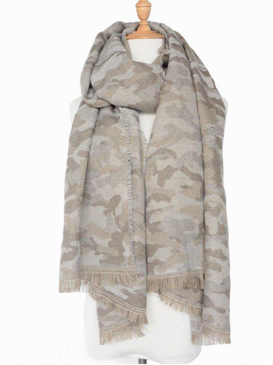 shop Army Camouflage Fringed Shawl Scarf - LIGHT GRAY