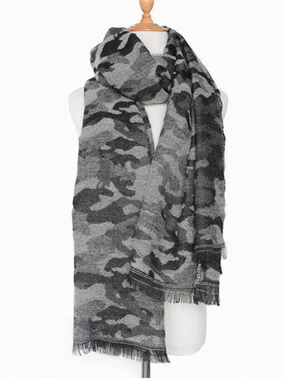 Armée Camouflage frangée Châle Écharpe - [