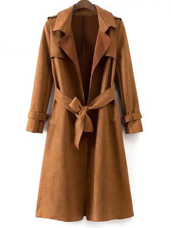 fashion Faux Suede Long Trench Coat - KHAKI M