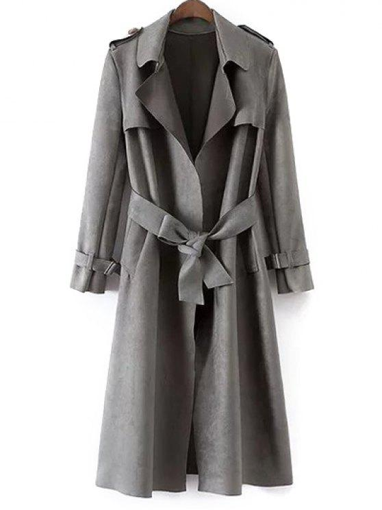 unique Faux Suede Long Trench Coat - GRAY M