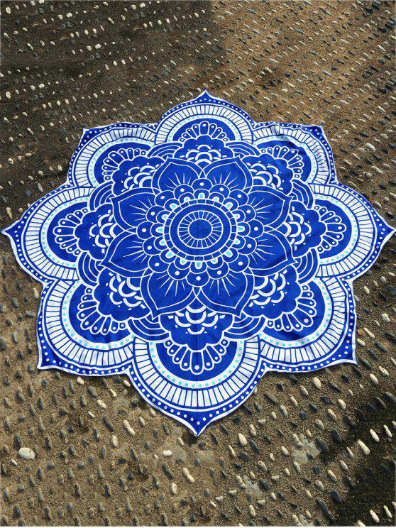 tapesserie de plage round à motif de lotus - Bleu Taille Unique
