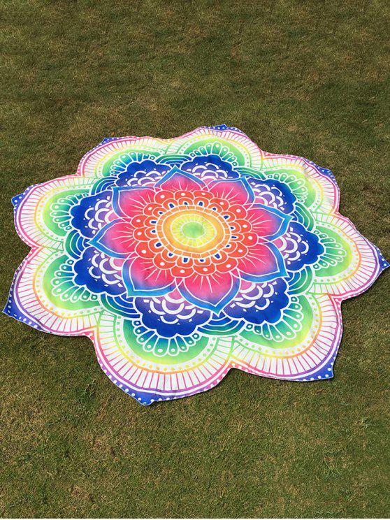 latest Bright Flower Round Beach Throw - COLORFUL ONE SIZE