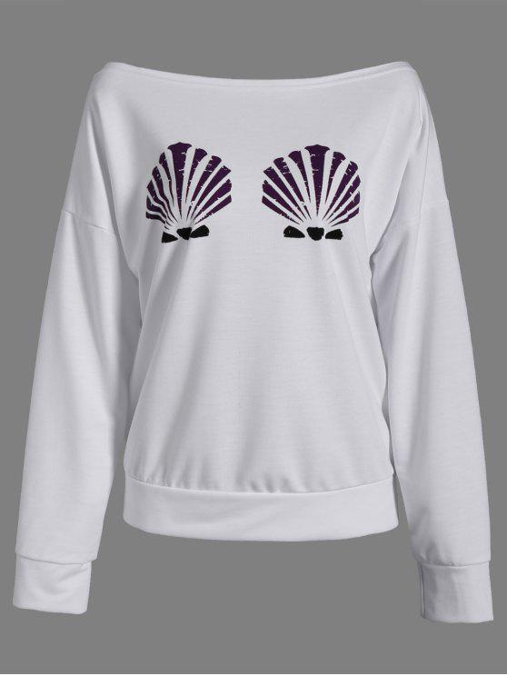 Uno-Hombro Shell de impresión con capucha - Blanco M