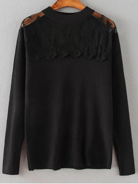 Empalmado suéter del cordón flojo - Negro 2XL