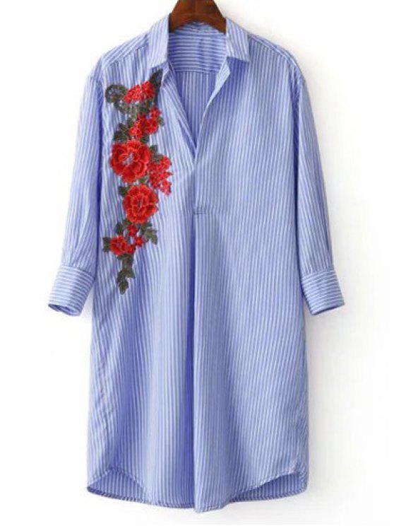 Chemise décontractée rayée à fleur - Bleu et Blanc S