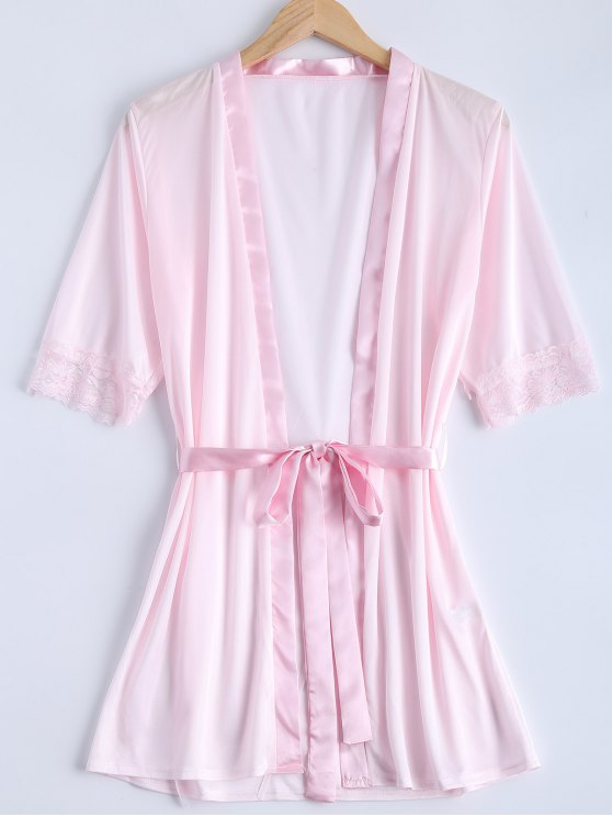 latest Belted Lace Insert Sleepwear - PINK S