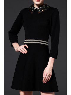 Beaded Flat Collar A Line Knitted Dress - Black S
