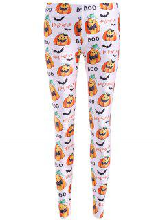 Bat Halloween Print Leggings - White M