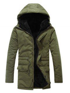 Drawstring Zipper Button Hooded Padded Coat - Army Green M
