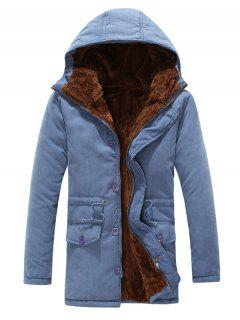 Drawstring Zipper Button Hooded Padded Coat - Blue Xl