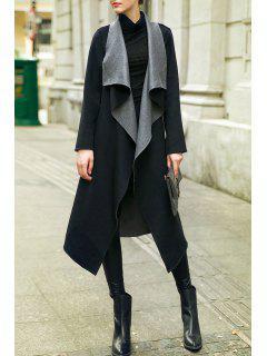 Manteau En Laine à Laine Longue Et Drapée - Noir S