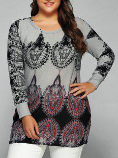 Round Collar Ethnic Print T-Shirt - Light Gray
