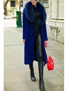 Faux Fur Collar Wool Blend Long Coat - Deep Blue M