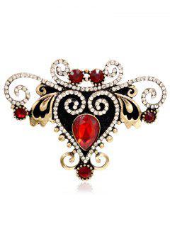 Rhinestoned Fake Gem Heart Brooch - Red