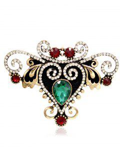 Rhinestoned Fake Gem Heart Brooch - Green