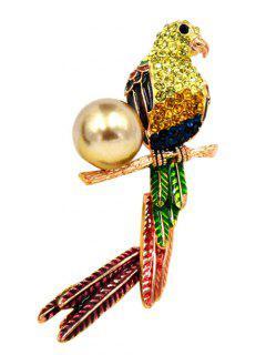Faux Pearl Rhinestone Parrot Brooch