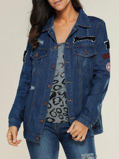 Applique Shirt Collar Ripped Denim Jacket - Denim Blue S