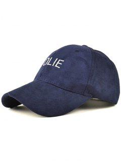 Adjustable Letters Embroidery Faux Suede Baseball Hat - Cadetblue