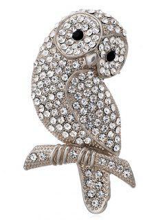 Owl Rhinestone Brooch Shape - Blanc