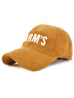 Cartoon Letter Embroidery Corduroy Baseball Hat - Brown